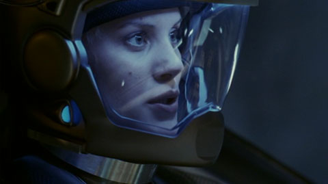Starbuck in her space suit in the cockpit of her Viper.