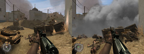 Side by side comparison of a position exposed to the enemy and concealed by smoke.