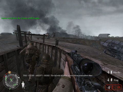 You and your squad charging down the trenches towards German troops and defenses.