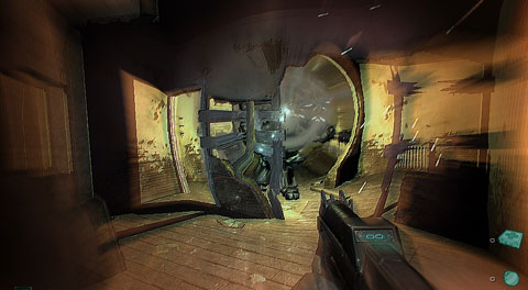 The rooms warps with an explosion on an enemy while in slow-motion mode.
