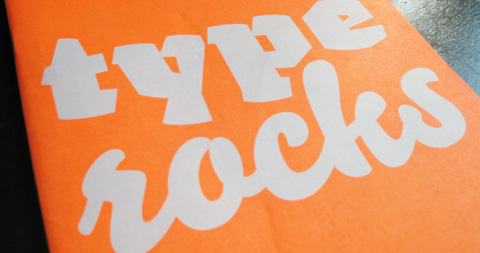 Font 004's front cover, reading 'type rocks'.