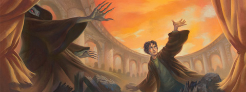 The full wraparound illustration of the seventh Harry Potter book. Harry Potter and Voldemort, with their hands extended towards an orange sky, surrounded by archways and wreckage.