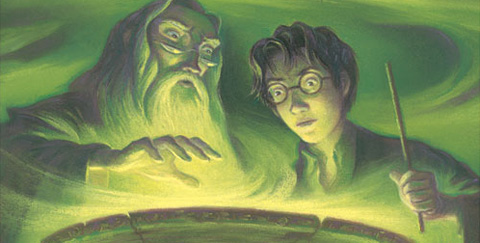Dumbledore and Harry from the cover illustration.