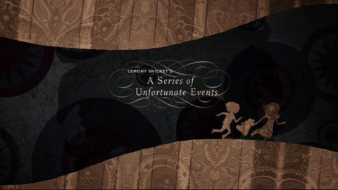 The title of the film appears as silhouettes of the children run down a tunnel. The children and the tunnel's top and bottom have a beige pattern, whereas the tunnel wall is a dark grey and black. The words are embellished with calligraphic scrolling.