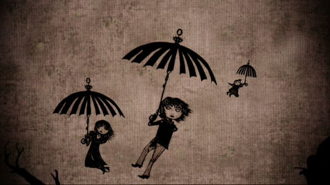 The children float down past a dirty burlap-textured sky, using umbrellas as parachutes.