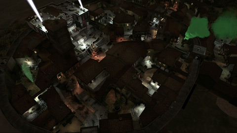 The town of Adanti, seen from far above at night.
