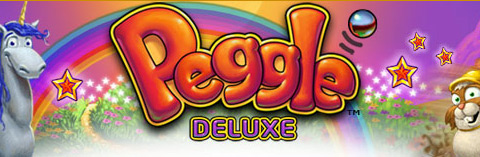 The logotype for Peggle Deluxe, on a cheery rainbow and grasslands background, flanked by two characters.