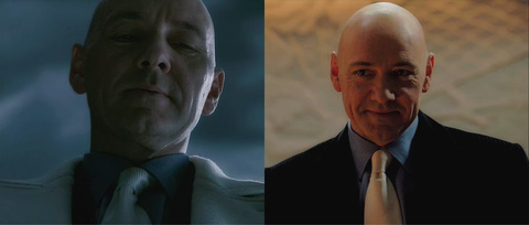 Two views of Lex Luthor, one darker and one lighter.