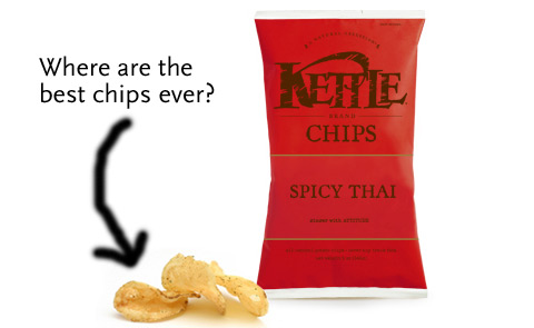A bag of Kettle Spicy Thai chips, next to a pile of chips. The phrase Where are the best chips ever? appears next to them, with a crudely drawn arrow pointing to the chips.