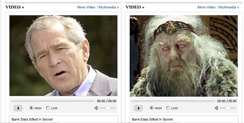 President Bush's face in a video frame, looking a bit pale and old, next to an image of King Theoden, looking very pale and old.