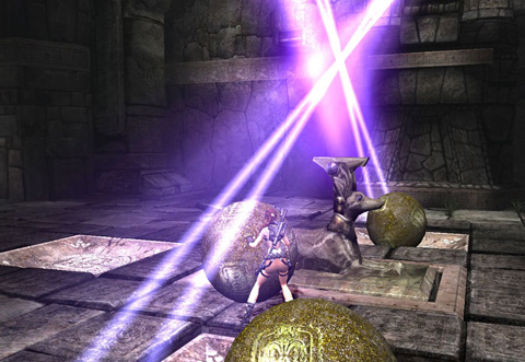 Lara pushes a third stone ball past a dog statue to a divot in the ground, to affect beams of purplish light in this ruin.