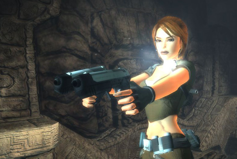 Lara, up close, with her guns drawn and her Personal Lighting Source activated.